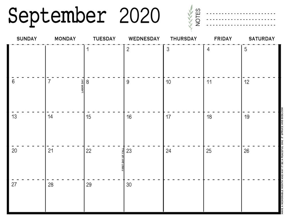 September 2020 Printable Calendar pdf   Organization ...